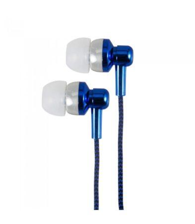 Astrum EB250 univerzális 3,5mm jack kék sztereó headset mikrofonnal, szövetbevonatos kábellel, extra mély, prémium hangzással