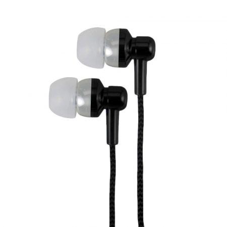 Astrum EB250 univerzális 3,5mm jack fekete sztereó headset mikrofonnal, szövetbevonatos kábellel, extra mély, prémium hangzással
