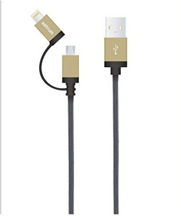 Astrum Apple iPhone 1,2M fémhálós strapabíró adatkábel micro usb átalakítóval MFI engedéllyel arany