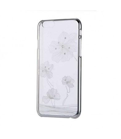 Astrum MC140 keretes virág mintás, Swarovski köves Apple iPhone 6/6S hátlapvédő ezüst