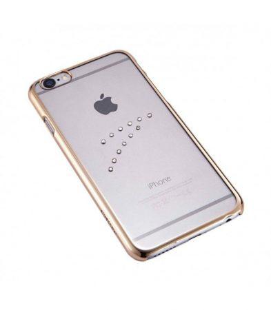 Astrum MC150 keretes átlátszó, középen Swarovski köves Apple iPhone 6/6S tok arany