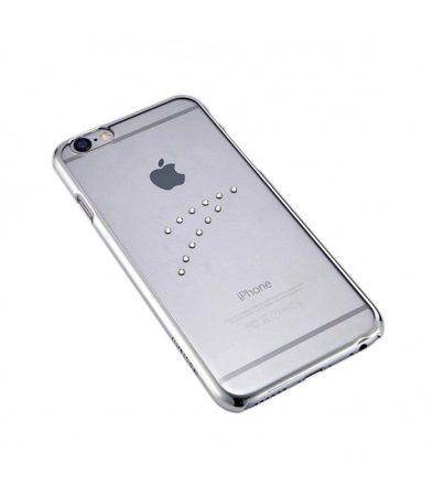 Astrum MC150 keretes átlátszó, középen Swarovski köves Apple iPhone 6/6S tok ezüst