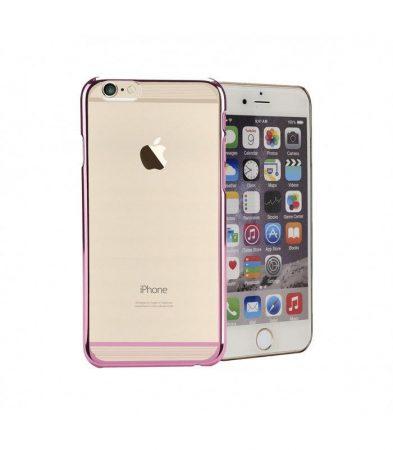 Astrum MC120 keretes átlátszó, alul felül dekorcsíkos Apple iPhone 6/6S tok pink