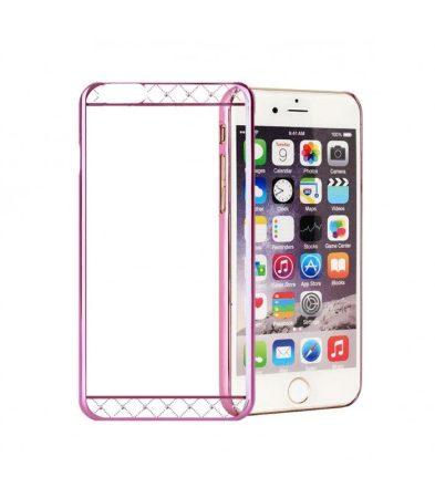 Astrum MC130 keretes átlátszó, alul felül Swarovski köves Apple iPhone 6/6S tok pink
