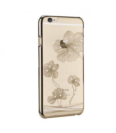 Astrum MC240 keretes virág mintás, Swarovski köves Apple iPhone 6 Plus / 6S Plus tok arany
