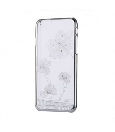 Astrum MC240 keretes virág mintás, Swarovski köves Apple iPhone 6 Plus / 6S Plus tok ezüst