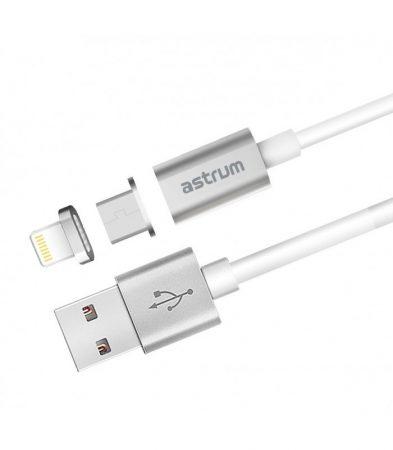 Astrum UM350 1M 2in1 mágneses micro USB és 8 pin lightning adatkábel szürke A35535-Q
