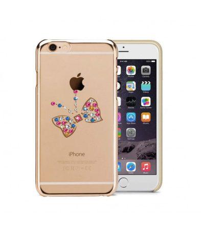 Astrum MC250 keretes pillangó mintás, színes Swarovski köves Apple iPhone 6/6S hátlapvédő arany
