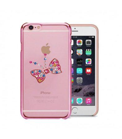 Astrum MC250 keretes pillangó mintás, színes Swarovski köves Apple iPhone 6/6S hátlapvédő pink