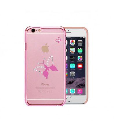 Astrum MC290 keretes pillangó mintás, Swarovski köves Apple iPhone 6/6S hátlapvédő pink