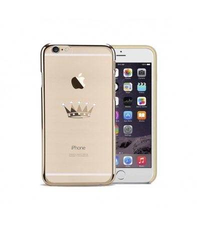 Astrum MC300 keretes korona mintás, Swarovski köves Apple iPhone 6/6S hátlapvédő arany