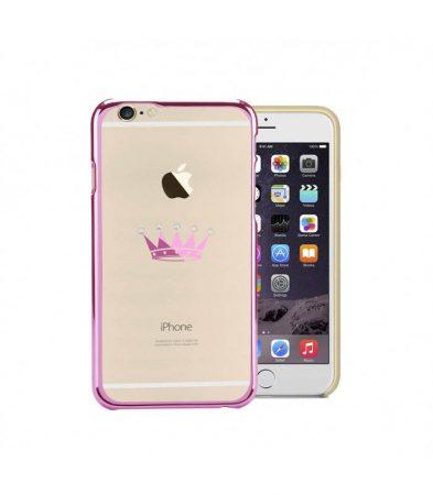 Astrum MC300 keretes korona mintás, Swarovski köves Apple iPhone 6/6S hátlapvédő pink