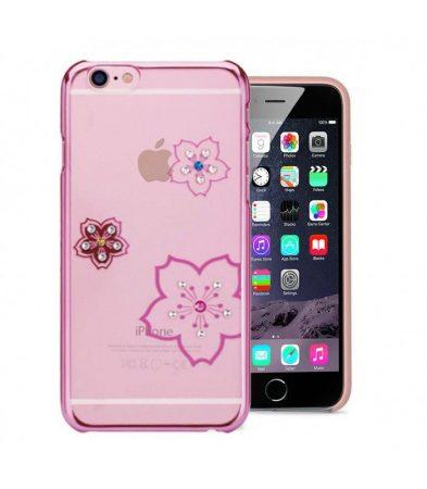Astrum MC280 keretes virág mintás, színes Swarovski köves Apple iPhone 6 Plus / 6S Plus hátlapvédő pink