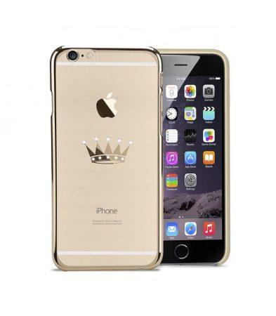 Astrum MC310 keretes korona mintás, Swarovski köves Apple iPhone 6 Plus / 6S Plus hátlapvédő arany