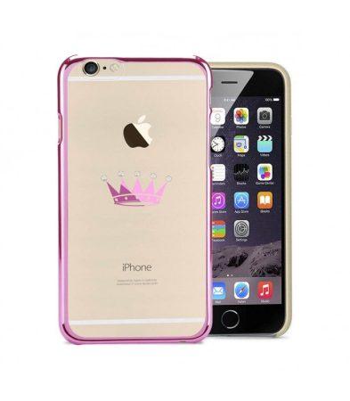 Astrum MC310 keretes korona mintás, Swarovski köves Apple iPhone 6 Plus / 6S Plus hátlapvédő pink