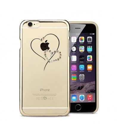 Astrum MC330 keretes szív mintás, színes Swarovski köves Apple iPhone 6 Plus / 6S Plus hátlapvédő arany