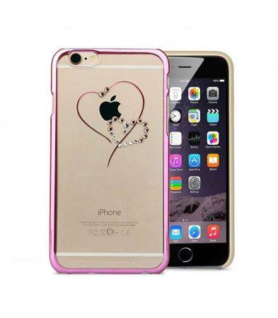 Astrum MC330 keretes szív mintás, színes Swarovski köves Apple iPhone 6 Plus / 6S Plus hátlapvédő pink