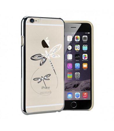 Astrum MC350 keretes szitakötő mintás, Swarovski köves Apple iPhone 6 Plus / 6S Plus hátlapvédő ezüst