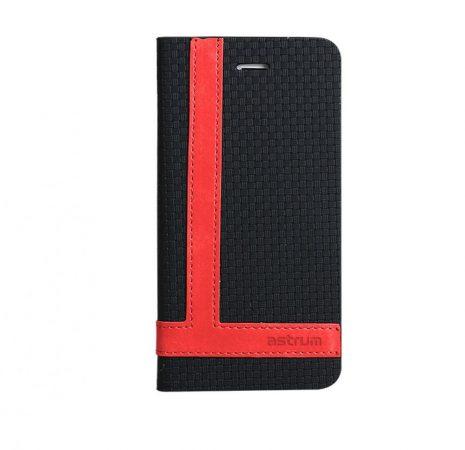 Astrum MC600 TEE PRO mágneszáras Samsung G925F Galaxy S6 EDGE könyvtok fekete-piros
