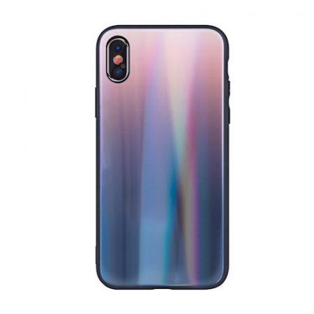 Rainbow szilikon tok üveg hátlappal - Samsung A715 Galaxy A71 (2020) barna - fekete