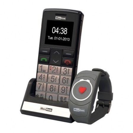 Maxcom MM715BB kártyafüggetlen idősgondozó mobiltelefon SOS karpereccel, extra nagy gombokkal