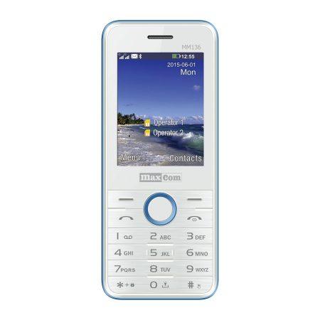 Maxcom MM136 mobiltelefon, dual sim-es kártyafüggetlen, bluetooth-os, fm rádiós fehér-kék