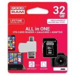 Goodram microSDHC 32GB Class 10 memóriakártya SD adapterrel, Micro USB / USB OTG kártyaolvasóval és Artisjus matricával - M1A4-0320R11