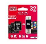 Goodram microSDHC 32GB Class 10 memóriakártya SD adapterrel, Type - C / Micro USB / USB OTG kártyaolvasóval és Artisjus matricával - M1A5-0320R11