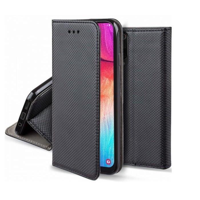 Smart magnet Huawei P Smart oldalra nyíló mágneses könyv tok szilikon belsővel fekete